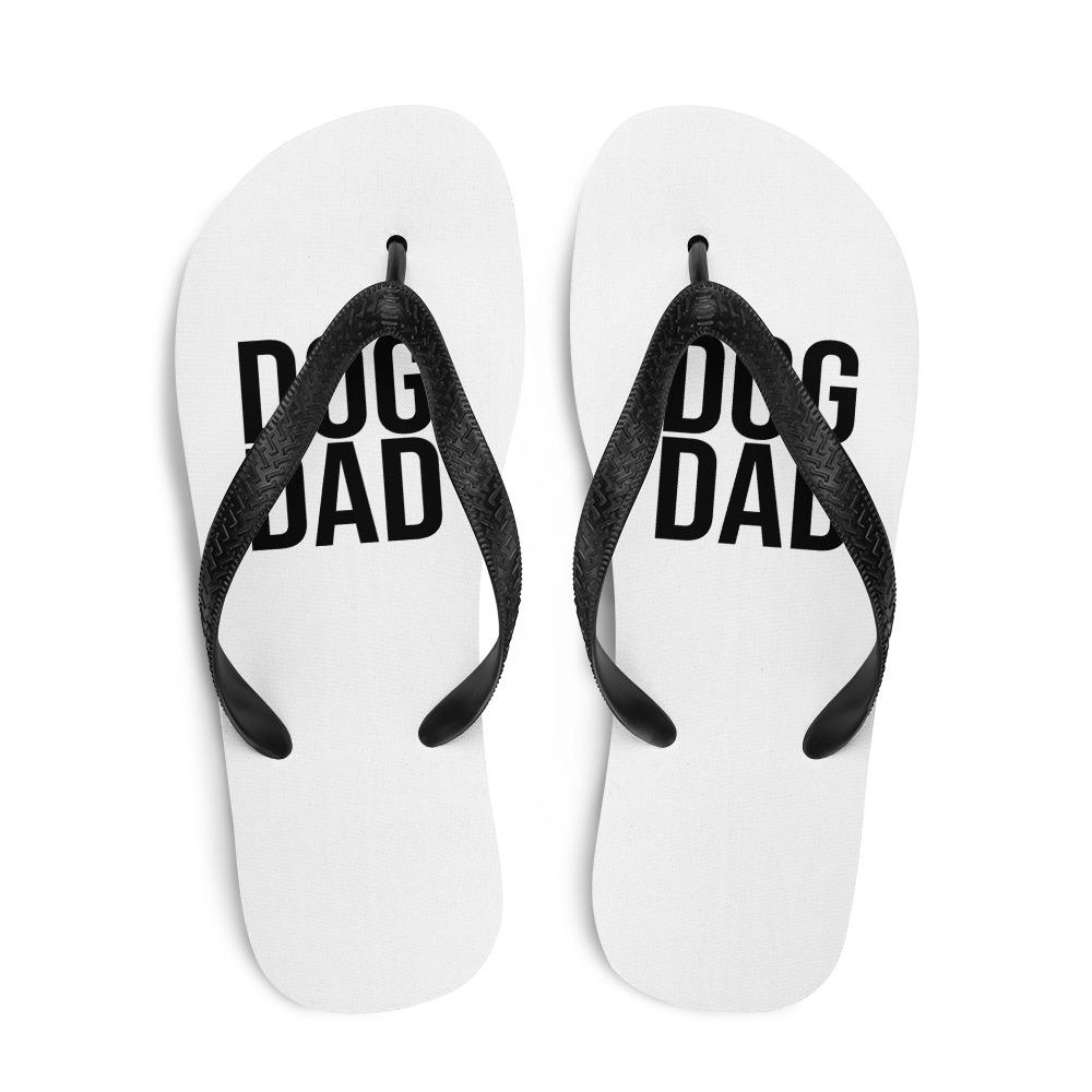 White Dog Dad Flip Flops