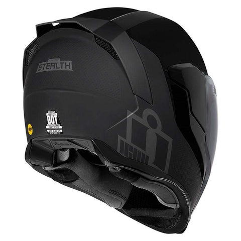 Icon Helmets Icon  Airflit e MIPS Stealth Motorcycle Helmet - FREE Dark Shield