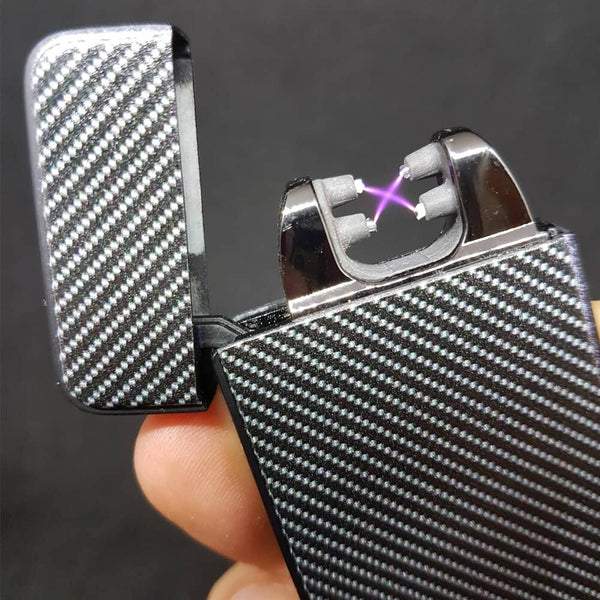 Carbon Fiber The Flame X Showing the Iconix X Plasma Lighter