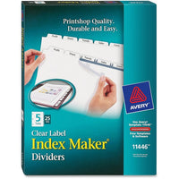 Avery Index Maker Print & Apply Clear Label Dividers with White Tabs 5 White Tabs per set, 25 Sets
