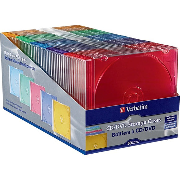 Verbatim CD DVD Color Slim Jewel Cases  Assorted   50pk