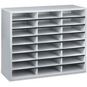 Fellowes Literature Organizer   24 Compartment Sorter  Dove Gray