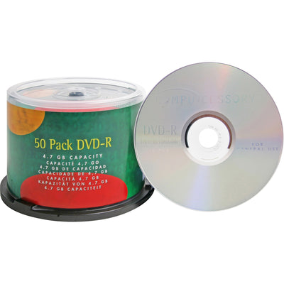 Compucessory DVD Recordable Media   DVD R   16x   4.70 GB   50 Pack