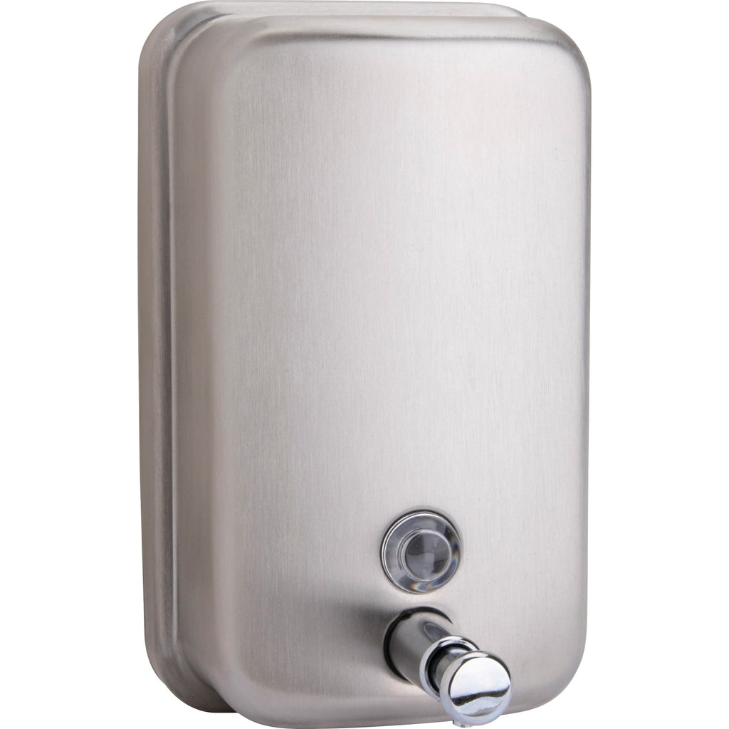 Genuine Joe Liquid/Lotion Soap Dispenser - Manual - 931.57 mL Capacity - Wall Mountable, Rust Proof - Stainless Steel - 1 / Each