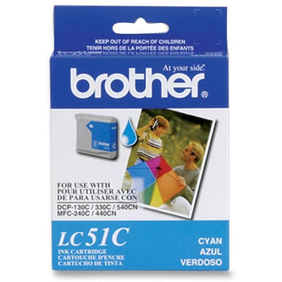 Brother LC 51Original Ink Cartridge - Inkjet - 400 Pages - Cyan - 1 Each