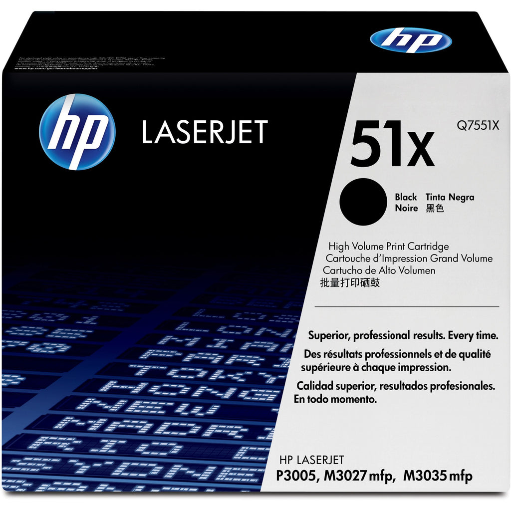 HP 51X Original Toner Cartridge - Single Pack - Laser - 13000 Pages - Black - 1 Each