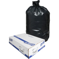 "Genuine Joe Heavy-Duty Trash Can Liners - Medium Size - 124.92 L - 33"" (838.20 mm) Width x 40"" (1016 mm) Length x 1.50 mil (38 Micron) Thickness - Low Density - Black - 100/Carton"