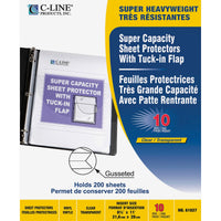 "C-Line Super Capacity Sheet Protector with Tuck-in Flap - 200 x Sheet Capacity - For Letter 8 1/2"" x 11"" Sheet - Clear - Vinyl - 10 / Pack"