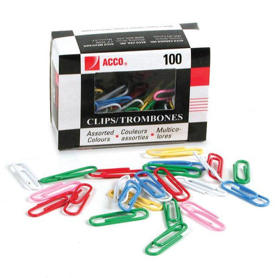 Acco Vinyl Coated Colour Paper Clip   #1  Standard