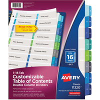 Avery Ready Index Customizable Table of Contents Double Column Dividers Preprinted 1-16 Multicolor Tabs, 1 Set