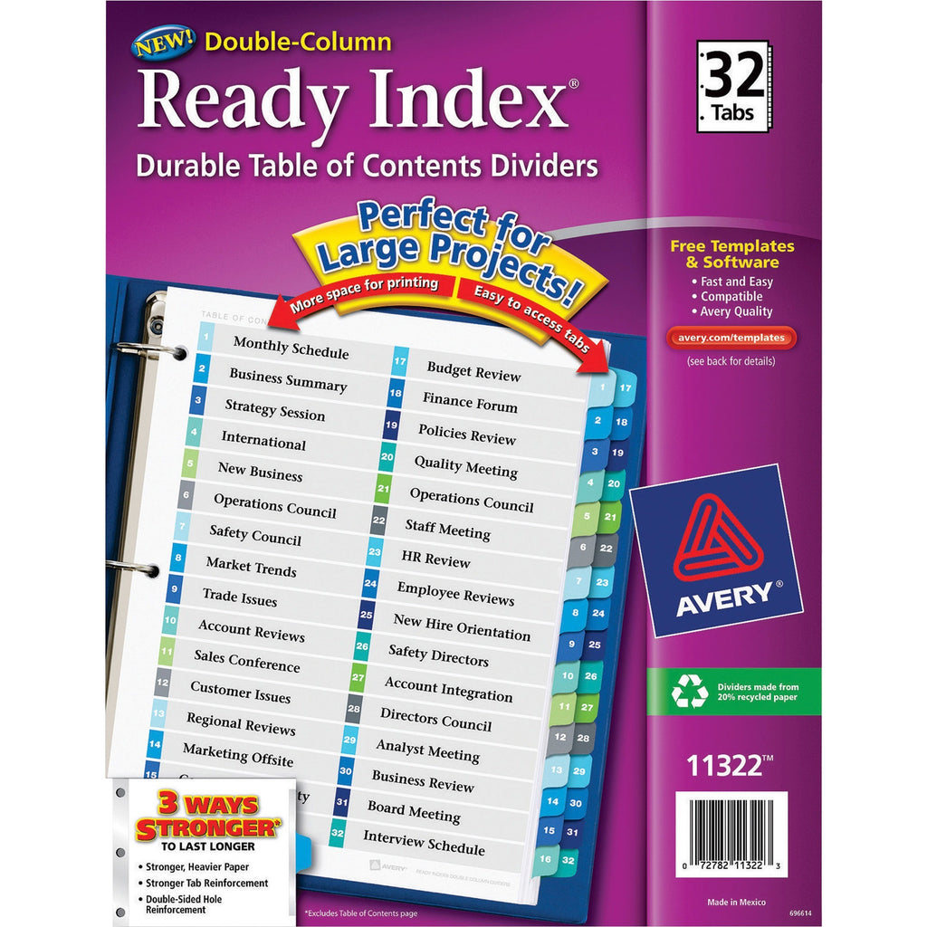 Avery Ready Index Preprinted 1-32 Multicolor Tabs, 1 Set