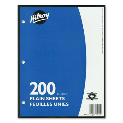 Hilroy Unruled Filler Paper 200 Sheets