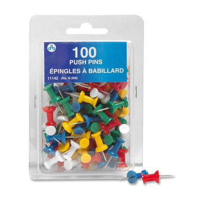 Acme United Plastic Head Push Pin ASST Colours 100PK