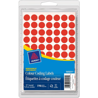 Avery® Coding Label - Removable Adhesive Length - Circle - Inkjet, Laser - Red - 770 / Box