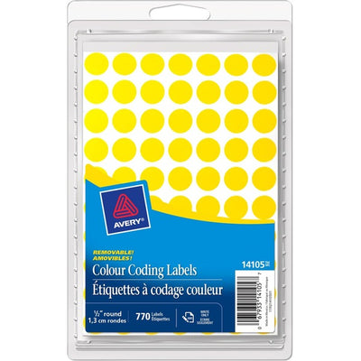 Avery® Coding Label - Removable Adhesive Length - Circle - Laser, Inkjet - Yellow - 770 / Box