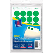 Avery® Coding Label - Removable Adhesive Length - Circle - Laser, Inkjet - Green - 480 / Box