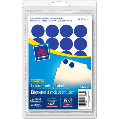 Avery® Coding Label - Removable Adhesive Length - Circle - Laser, Inkjet - Blue - 480 / Box
