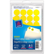 Avery® Coding Label - Removable Adhesive Length - Circle - Laser, Inkjet - Yellow - 480 / Box