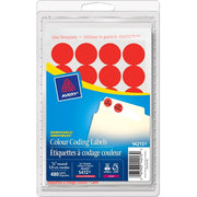 Avery® Coding Label - Removable Adhesive Length - Circle - Laser, Inkjet - Neon Red - 480 / Box