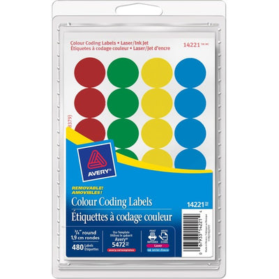 Avery® Coding Label - Removable Adhesive Length - Circle - Laser, Inkjet - Asst - 480 / Box