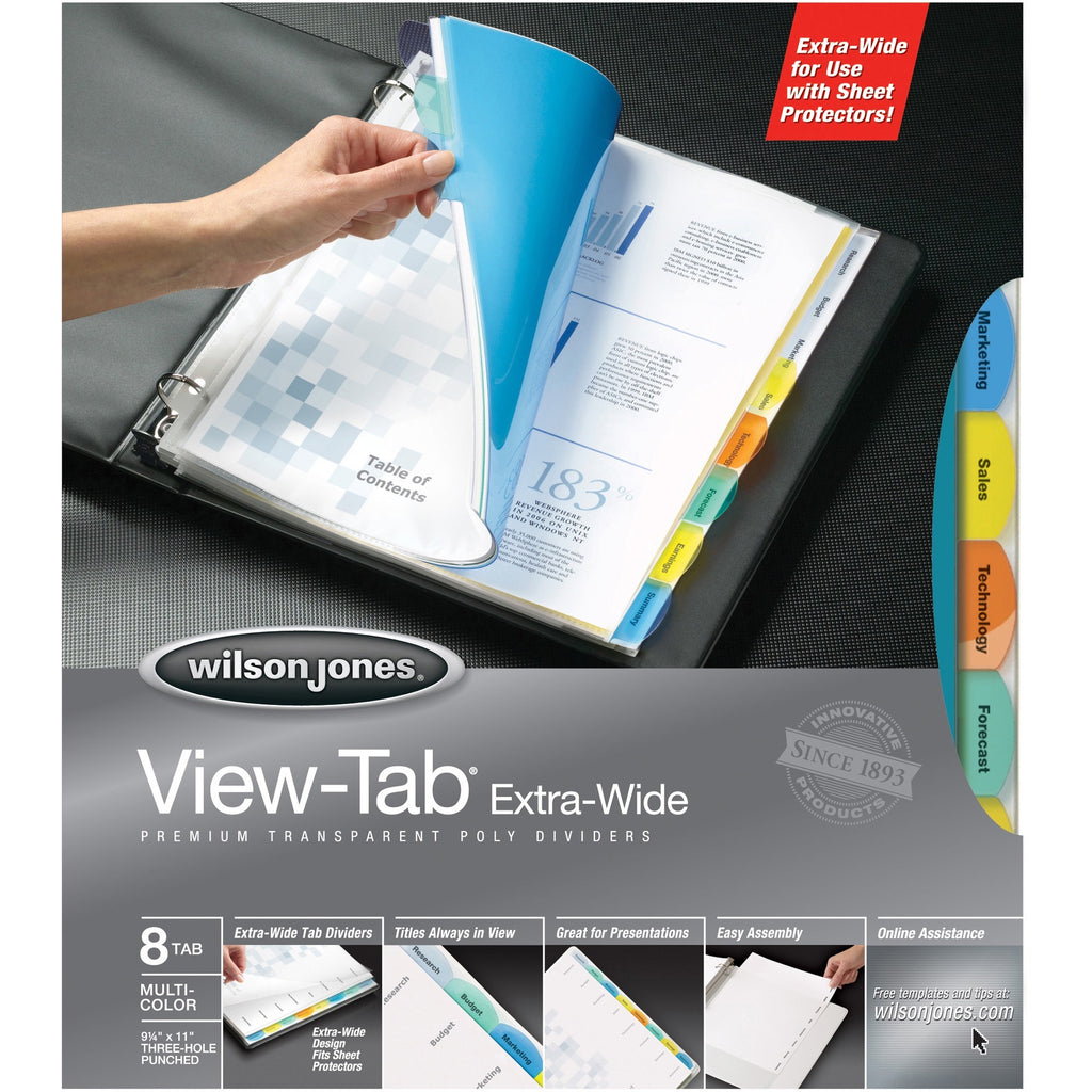 Wilson Jones Enviro Plus View Tab Extra Wide Transparent Index Dividers
