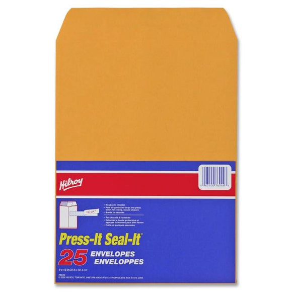 Hilroy Press It Seal It Kraft Adhesive Envelope