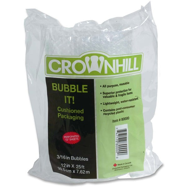 "Crownhill Cushion Wrap - 12"" (304.80 mm) Width x 25 ft (7620 mm) Length - 187.5 mil (4.8 mm) Thickness - Lightweight - Polyethylene"