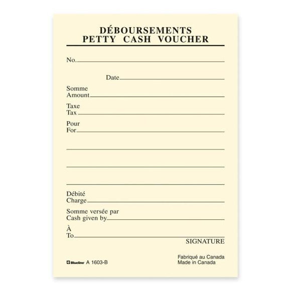 Blueline Bilingual Petty Cash Vouchers Pad