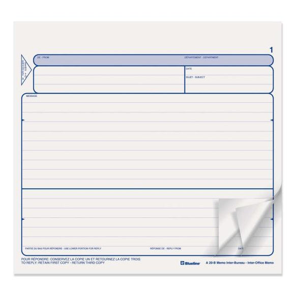 Blueline Triplicate Bilingual Inter Office Memo Form