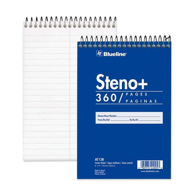 Blueline White Paper Wirebound Steno Pad 1 each