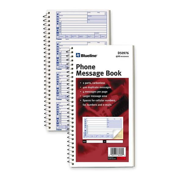 Blueline D50976 NCR Telephone Message Book