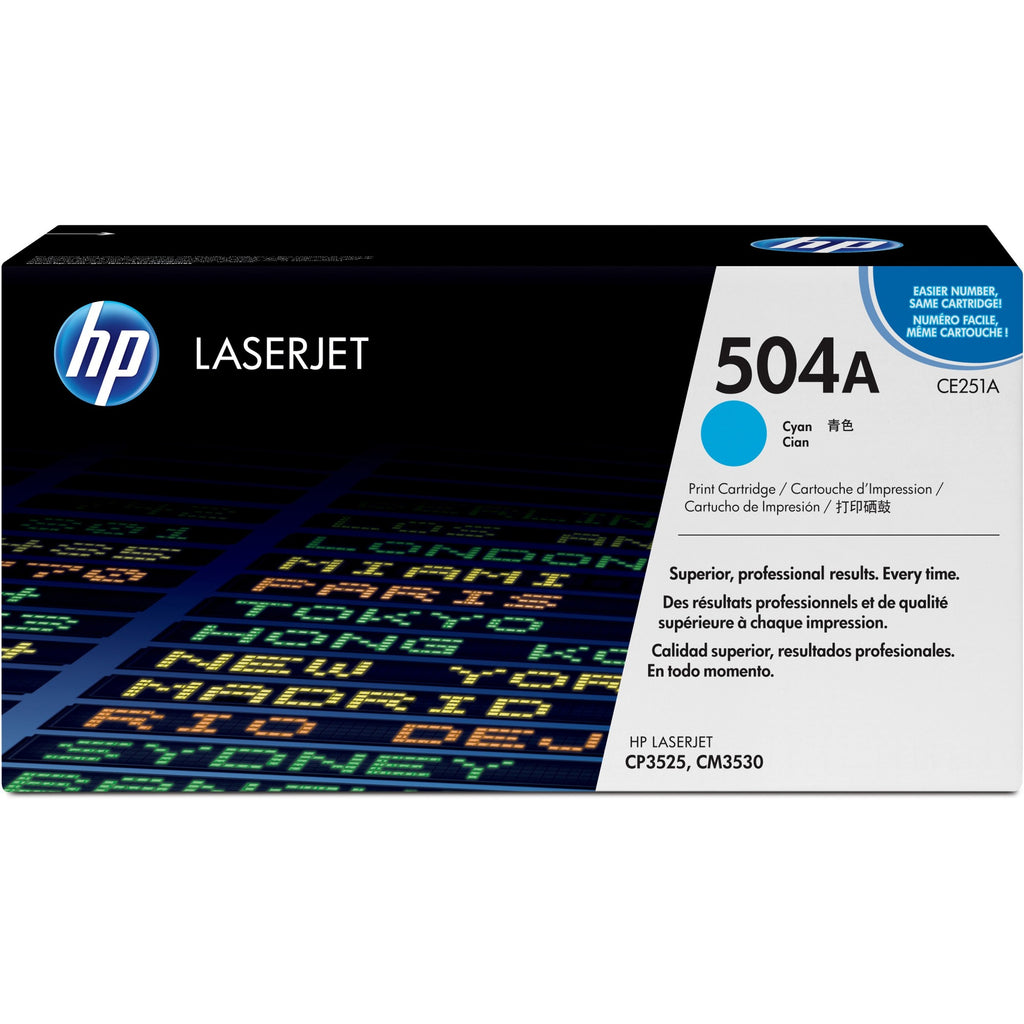HP 504A Original Toner Cartridge - Single Pack - Laser - Standard Yield - 7000 Pages - Cyan - 1 Each