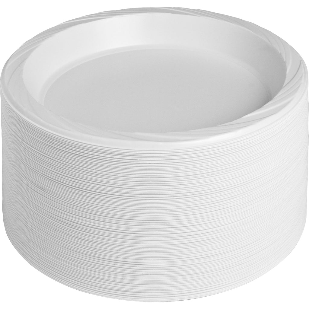 "Genuine Joe 10-1/4"" Large Plastic Plates - 10.25"" (260.35 mm) Diameter Plate - Plastic Plate - White - 125 Piece(s) / Pack"
