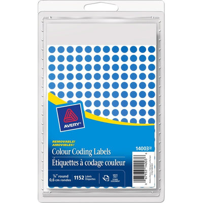 Avery 14001 Color Coding Label Blue Mini Round Labels 1152/pk