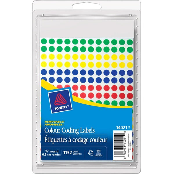 Avery 14001 Color Coding Label ASST Colours Mini Round Labels 1152/pk