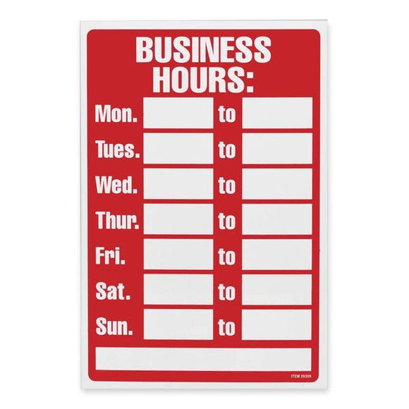 U.S. Stamp & Sign Business Hours Sign