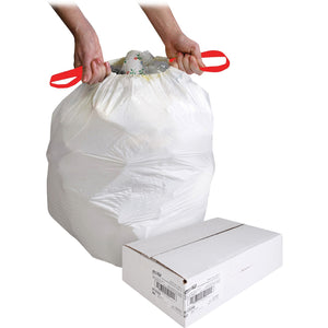 "Genuine Joe White Flex Drawstring Trash Liners - Small Size - 49.21 L - 24"" (609.60 mm) Width x 25.13"" (638.17 mm) Length x 0.90 mil (23 Micron) Thickness - Low Density - White - Resin - 60/Box"