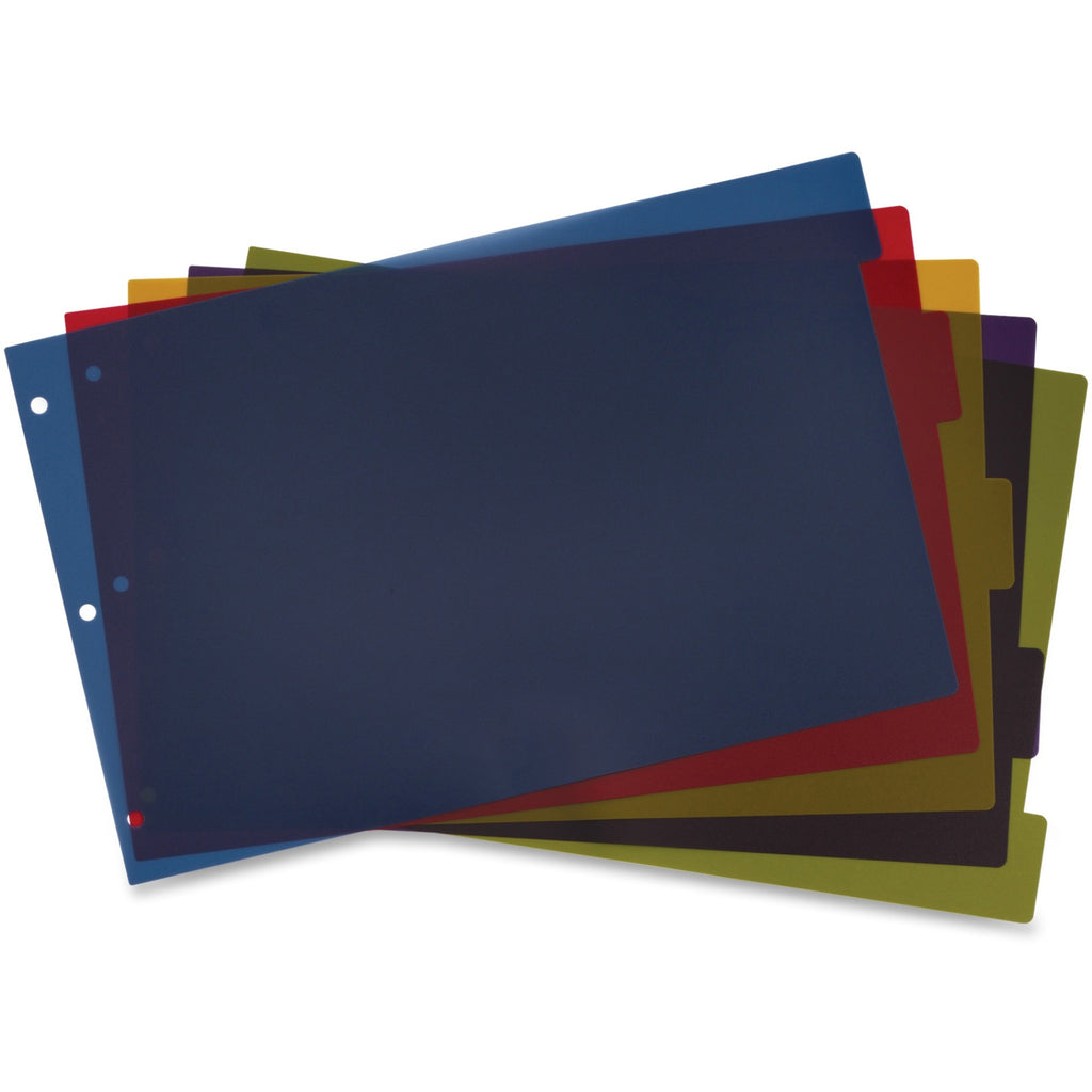 Cardinal Poly Divider with Adhesive Tabs 11.5x17.5 - 5 Tab