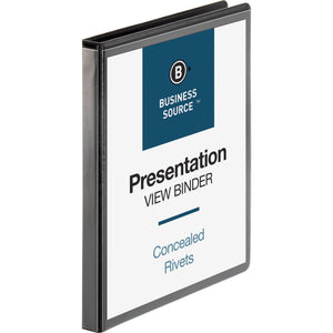"Business Source Round Ring Standard View Binders  1/2"" Binder Capacity"