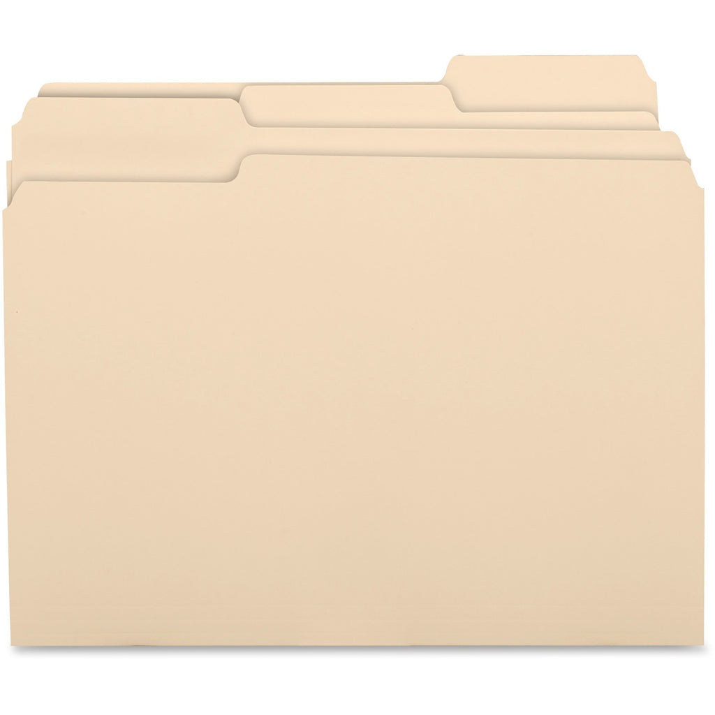 Business Source 1 3 Cut 1 ply Top Tab Manila Folders, letter, 1/3 tab assorted, 100/box