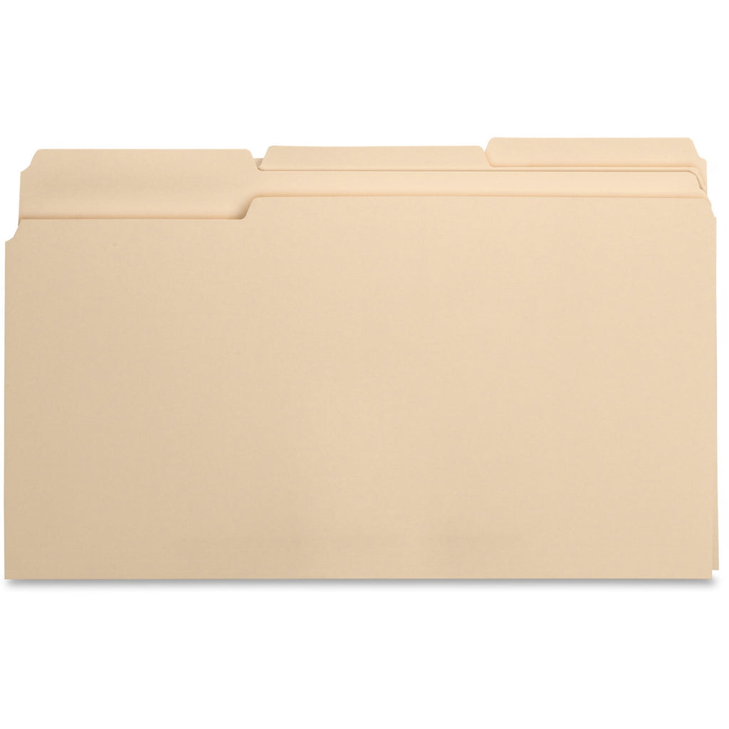 Business Source 1 3 Cut 1 ply Top Tab Manila Folders, legal, 1/3 tab assorted, 100/box
