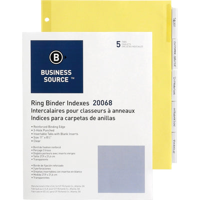 Business Source Buff Stock Ring Binder Indexes - 3 Hole Punched, letter, 5 tab, 5/set