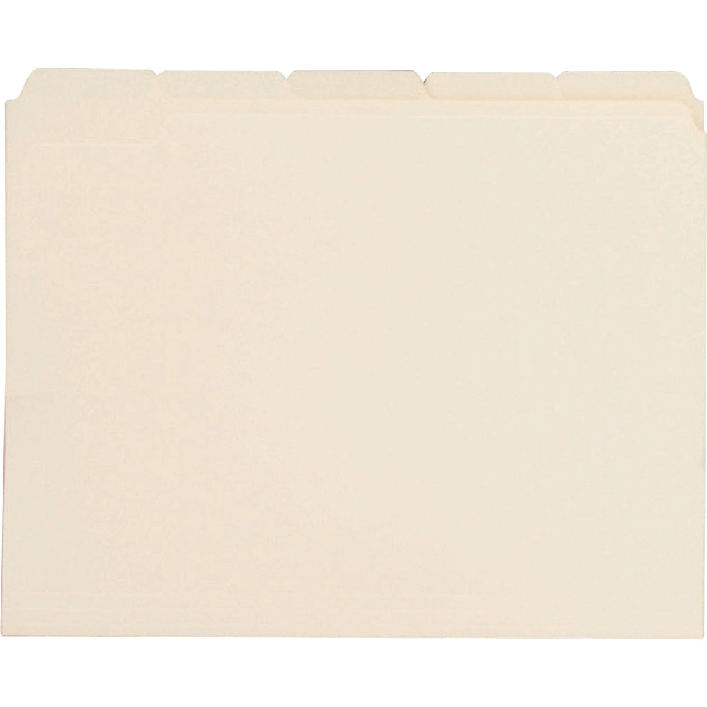 Business Source 1/5 Cut Tab Manila File Folders - Letter
