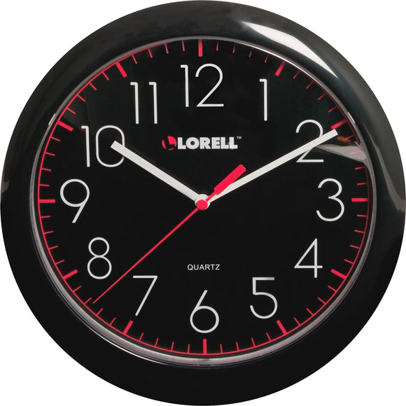 Lorell 10in Quartz Black Face Wall Clock