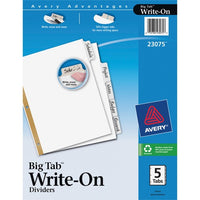 Avery Big Tab Write & Erase Paper Dividers - 5 Write-on Tab(s) - 3 Hole Punched
