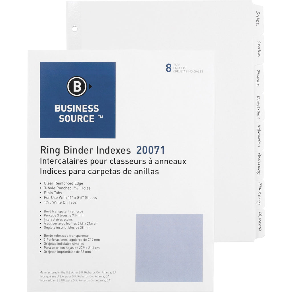 Business Source 3 Ring Plain Tab Indexes, letter, 3 hole-punch, 8 tab, 100/box