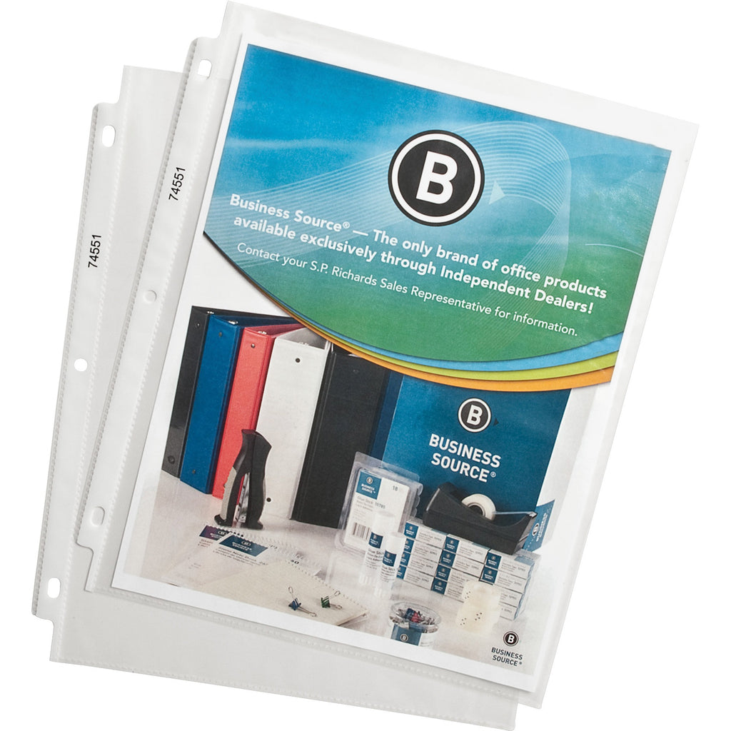 Business Source Top Loading Poly Sheet Protectors 100PK
