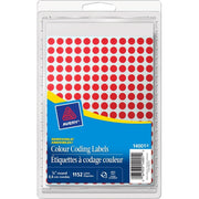 Avery 14001 Color Coding Label Red Mini Round Labels 1152/pk