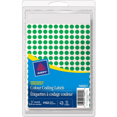 Avery 14001 Color Coding Label Green Mini Round Labels 1152/pk