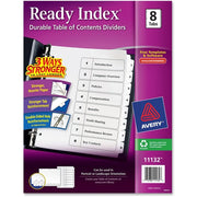Avery Ready Index Customizable Table of Contents Black & White Dividers, Preprinted 1-8 White Tabs, 1 Set